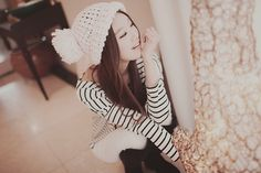 stripes and knit hat