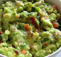 Best Guac Recipe You Will Ever Make.    4 large avocados, pitted, and smashed  2 garlic cloves, minced  1 roma tomato, diced  1/2 an onion, diced  Juice of one lime  1 1/2 tsp apple cider vinegar  Salt, to taste  Pepper, to taste    Mix all together in a bowl and enjoy!