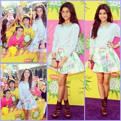 cuute outfit by Zendaya Coleman........ gold cateye glasses + white sweater with gold sequined peter pan collar + light pink, and blue skirt + gladiator wedged sandals + got pink clutch + gold bracelet + black/gold bracelet