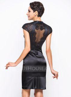Sheath/Column V-neck Knee-Length Charmeuse Lace Cocktail Dress (016055960)