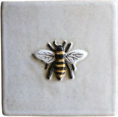 "Dimensions: approximately 4"" x 4"" x 1/2"" Weight: 8 oz ​ Material: Stoneware (heat resistant - for use indoors and out) Is the tile you are looking for out of stock? Click ""Made to Order"" below, and we will create a tile especially for you! Question about the Honey Bee Tile? Contact Blue Willow Studio."