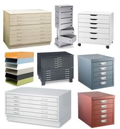 Versatile flat files fit in well with an industrial look. We've rounded up a number of pieces, both small and large, that could hold papers, linens, craft supplies, kitchen equipment, or anything else you need to store in low, flat drawers or shelves. Click below for a whole lot more.