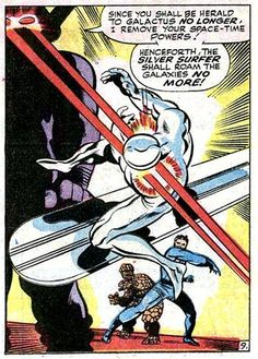 "Galactus puts the smack down, ""You shall roam the galaxies no more"", Silver Surfer, John Buscema,"