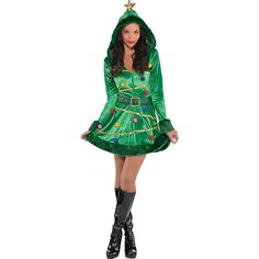 Our festive Christmas tree dress features plush trim and a gold star on the hood. Be sure to check the size chart if you view a different item because the sizes will vary. If your size is borderline between two sizes always choose the larger size. Halloween Christmas Tree, Christmas Tree Dress, Christmas Costumes, Ugly Christmas Sweater, Christmas Dresses, Whoville Costumes, Christmas Ideas, Witch Costumes, Christmas Events