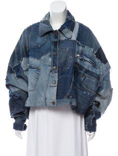 Oversize Denim jacket - From Recent Collection. Medium and light wash blue Dolce & Gabbana oversize distressed denim patchwork jacket with pointed collar, contrast stitching throughout and button closures at front. Source by monikasehrt - Oversized Denim Jacket Outfit, Denim Oversize, Jean Jacket Outfits, Cropped Denim Jacket, Denim Outfit, Denim Jackets, Denim Jacket With Patches, Denim Waistcoat, Upcycled Clothing