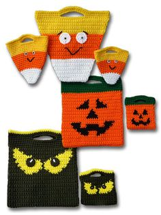 Candy Corn, Jack-O'-Lantern and Spooky Eyes make up these delightful Halloween treat and goody bags. Perfect for gathering treats, these three sets are easy to crochet and are created using worsted-weight yarn. Crochet Crafts, Yarn Crafts, Crochet Projects, Crochet Handbags, Crochet Purses, Halloween Treat Bags, Halloween Night, Halloween Crochet Patterns, Crochet Halloween Costume