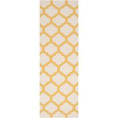 Hand-woven Yellow Caroni Wool Rug (2'6 x 8') Just ordered this for the girls bathroom...SO excited!