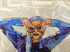 Excellent lesson to follow contour line drawing. Drawing on acetate and collage.