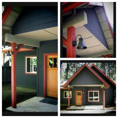 Deep Blue-Gray Mountain Cabin Exterior with Red Trim. Color design and photo © Kelly Berg, Story  Space