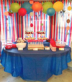Dr Suess Baby Shower Decoration Ideas | Here's the food table with some Dr. Seuss theme goodies.