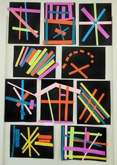 Kindergarten Paper Line Collage: exploring line and pattern