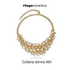Collana in metallo con bagno in oro giallo, perle sintetiche e cristalli bianchi Luca Barra Gioielli. #collana #donna #necklaces #jewels #lucabarragioielli #outfit #fashionblogger #manuelamuratore