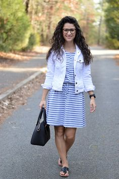 The Tailored Olive | Now and Later, striped Jcrew dress, white denim jacket, spring fashion