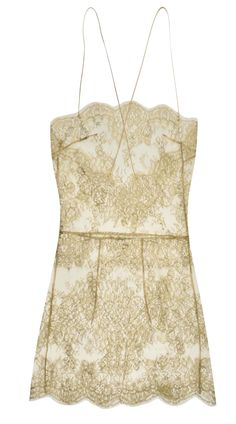 88ce615e8701 Gilda & Pearl Rita gold Leavers lace slip with handmade silk rouleaux straps