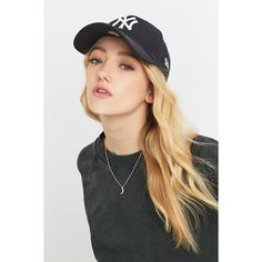 New Era 9Forty New York Yankees Baseball Cap ($7.55) ❤ liked on Polyvore featuring accessories, hats, navy, baseball cap hats, embroidered baseball caps, ball cap, baseball caps hats and navy baseball cap