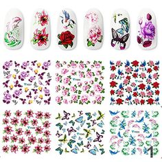 Perfect summer 12PCS Butterfly  Flower Nail Stickers Mixed Style Water Decals Popular Nail Art Decorations -- Find out more about the great product at the image link.