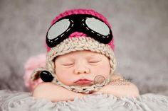 Baby Pilot Hat  Newborn Aviator Hat   Girl Pilot Hat por bitOwhimsy, $32,00