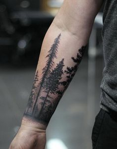 Forearm tattoo, full arm tattoo or cuff tattoo: which one to choose? - Forearm tattoo, half cuff and full arm – ideas for a wise choice - Forest Tattoo Sleeve, Forest Forearm Tattoo, Tree Tattoo Arm, Forest Tattoos, Cool Forearm Tattoos, Forearm Tattoo Design, Cool Tattoos, Tattoos Pics, Tattoos Gallery