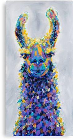 'Chauncey - Colorful Llama Painting' Canvas Print by amyec Giraffe Painting, Balloon Painting, Colorful Animal Paintings, Colorful Animals, Llama Arts, Llama Llama, Panda Quilt, Llama Drawing, Mirror Canvas