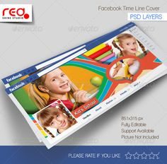 Kid's School Facebook Timeline #GraphicRiver Make Kid's School Timeline, professional, perfect for your profile, fan, or business page. It's all made up of Psd vector graphics, You can make your change, like switching the colors, text if your need. Note:- The preview image is NOT included in the download,this is just for illustration purpose. If you like proposal image, sent me mail ( Email: Support@redshinestudio ). Used image Link will be provided. Thanks for download Facebook Timeline…