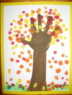 Handprint Tree:  This autumn tree activity would provide a creative opportunity for the children at the preschool.  It is fun to use their own handprint and fingerprints to create the picture.  This would definitely be a DAP activity.: