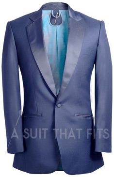 Navy Dinner Suit Two Piece with blue lining.