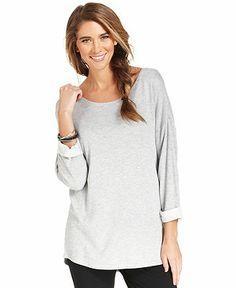 Style&co. Sport Top, Long-Sleeve Relaxed-Fit Sweatshirt - Tops - Women - Macy's