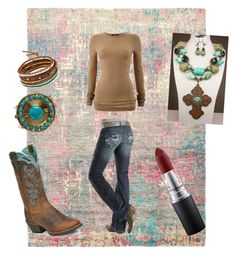 Cowgirl by qu33nn3 on Polyvore featuring polyvore, fashion, style, Bruuns Bazaar, Justin Boots, From St Xavier, Chan Luu, MAC Cosmetics, Ashbury, women's clothing, women's fashion, women, female, woman, misses and juniors