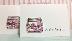 More note cards! This time they're using the Jar of Love stamp set. Love Stamps, Note Cards, Stampin Up, Jar, Notes, Report Cards, Index Cards, Stamping Up, Notebook