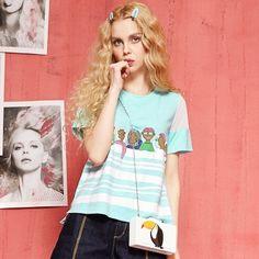 Elf Sack summer female loose printing short-sleeved women striped T-shirt   elfsack