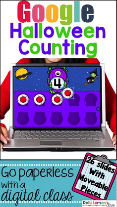 Google Classroom No Prep Halloween activity. Your students will have so much fun on their digital device using this interactive math resource. Your students will love dragging the movable eyeballs to the correct spots. It's never too early to embrace technology into your kindergarten classroom. This is a fun way to assess counting skills. The product has 10 interactive slides with fun Halloween visuals. Each slide has moveable pieces