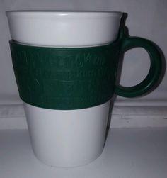 Starbucks Mug 2008 Green Embossed Rubber Sleeve Handle White Ceramic Cup 12oz | eBay