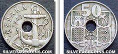 50 Céntimos 1949 E-51. Aunque son menos recordadas, estas monedas también tienen un agujero en el centro. En 1965 se dejaron de acuñar, pero en 1951 se fabricó un número limitado con motivo de la II Exposición Nacional de Numismática y se grabó en ellas «E-51». Actualmente tienen un valor de 500 euros.
