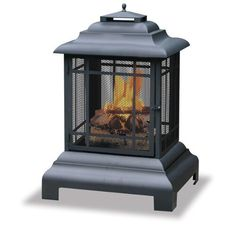 Amazon.com : Uniflame Black Firehouse With Protective Cover, Large : Outdoor Fireplaces : Patio, Lawn & Garden