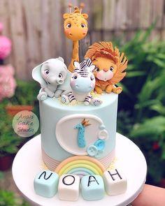 1st Birthday Party Themes, Baby Birthday Cakes, Boy Birthday, Birthday Ideas, Unique Cakes, Creative Cakes, Madagascar Cake, Jungle Theme Cakes, Beautiful Birthday Cakes
