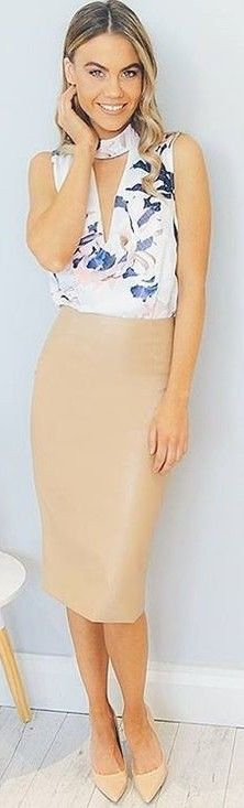 Floral Top + Nude Pencil Skirt                                                                             Source