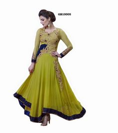 Indian Designer Green Net and Faux Georgette Churidar Kameez