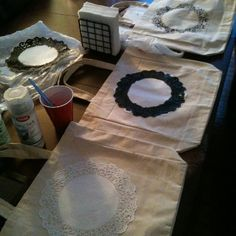 DIY bags... Put family initial in the center, so cute!!