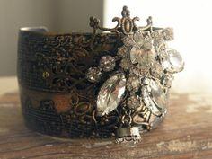 cuff bracelet w vintage jewels