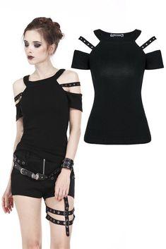 e6e66df551 TW158 Punk T-shirt with bound shoulder hollow-out design Punk Fashion,  Pastel