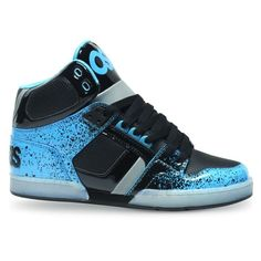 OSIRIS SHOES NYC 83 CYAN BLACK FADE HI TOP TRAINERS