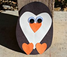 Click Pic for 30 Valentines Day Kids Crafts - Paper Heart Penguin - DIY-Valentines-Crafts