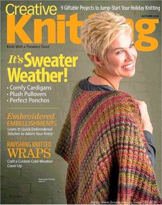 New Knitting Patterns - Creative Knitting Autumn 2018 I'm a cover girl ♥ Knitting Books, Knitting Stitches, Knitting Designs, Knitting Magazine, Crochet Magazine, Knit Vest Pattern, Knitting Patterns, Poncho Patterns, Knit Poncho
