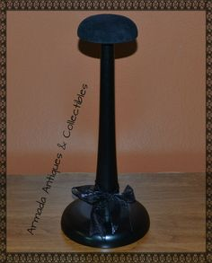 """Stylish Wood Hat Helmet Cap Headgear Stand Display with Velour Top 11"""" High"""