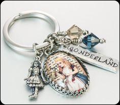 Alice in Wonderland Keychain Cute Keychain by BlackberryDesigns, $38.00