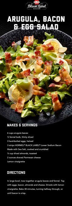 Arugula, Bacon, & Egg Salad Arugula Recipes, Salad Recipes, Keto Recipes, Bacon Meat, Lemon Vinaigrette, Sliced Almonds, Healthy Sides, Egg Salad, How To Make Salad
