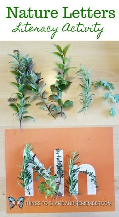 MAY- Nature/Forest month // Nature Letters Forest School Activities, Nature Activities, Alphabet Activities, Language Activities, Kindergarten Activities, Nursery Activities, Nature Based Preschool, Preschool Lessons, Nature Letters