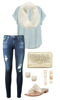 """""""Call me lucky cause in the end, I'm a 6 and she's a 10"""" by toonceyb ❤ liked on Polyvore featuring Collection XIIX, AG Adriano Goldschmied, Jack Rogers, Kate Spade and Forever 21"""