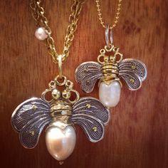 #waxingpoetic #beebrave #pearl pendants