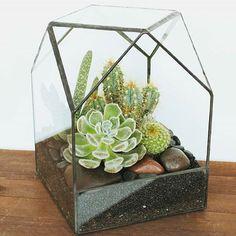 Modern Geometric House Glass Geometric Terrarium Tabletop Succulent Fern Moss Plant Box Planter Flower Pot with Cover